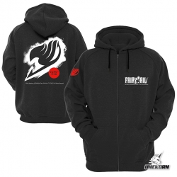 "Sweat capuche noir Fairy Tail ""Logo blanc"""