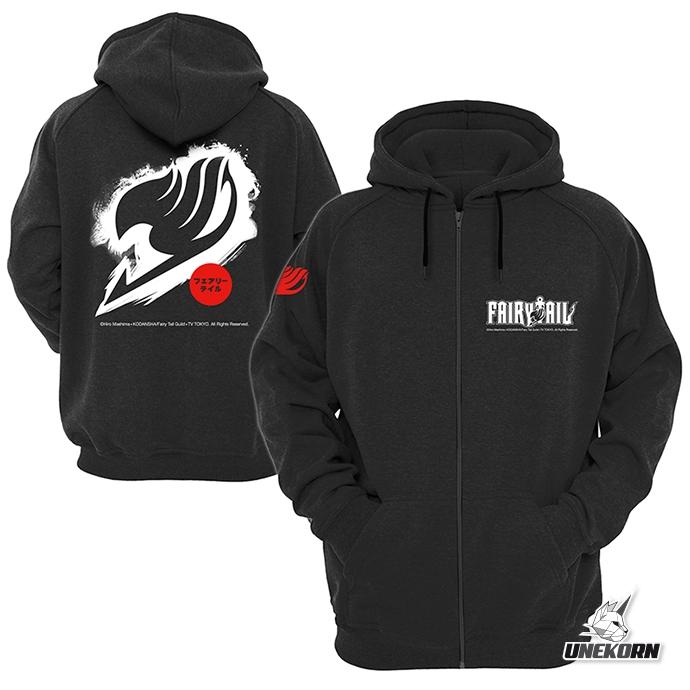 "Sweat capuche noir Fairy Tail ""Logo blanc"""