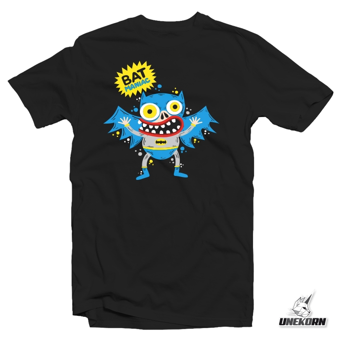 "T-shirt artiste SKWAK ""Bat Maniac"" parodie Batman"