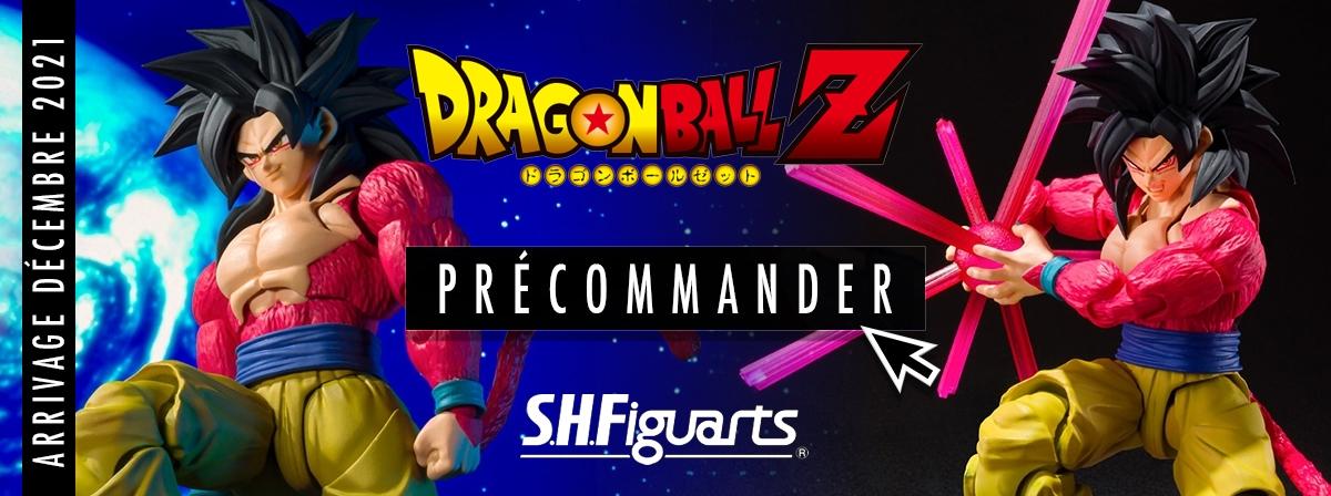 Pour la première fois en s S.H.Figuarts, voici Goku Super Saiyan 4 tiré de Dragon Ball GT. Le set comprend des visages, mains interchangeables ainsi que l'effet Kamehameha.