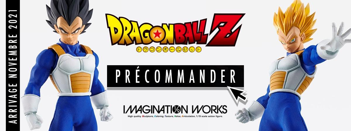 Après Goku, voici Vegeta dans la gamme IMAGINATION WORKS. Les articulations sont subtilement cachées sous une tunique parfaitement ajustée. Le set comprend plusieurs visages, les cheveux Super Saiyan, socle et mains interchangeables.