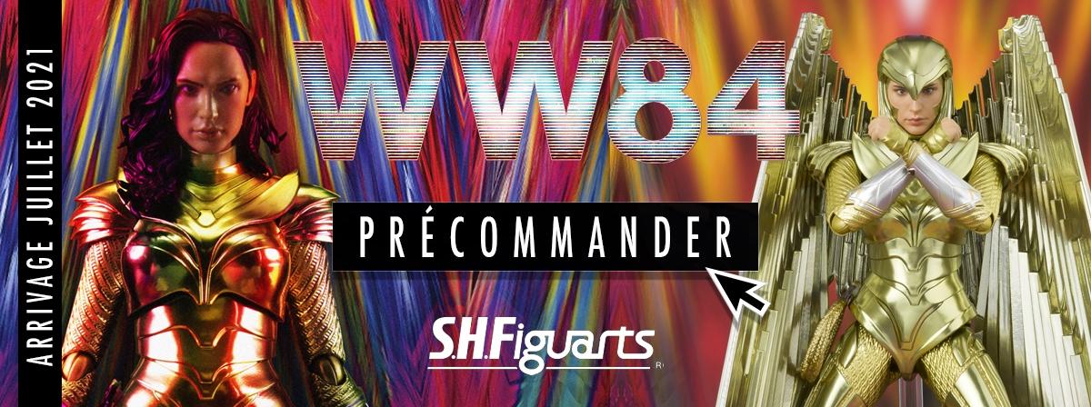 """Tirée de """"Wonder Woman 1984"""" cette nouvelle S.H.Figuarts en version Golden Armor est du plus bel effet, il est possible de rajouter les ailes dorées. Le set comprend : Support pour les ailes, lasso, visage optionnel et mains interchangeables."""