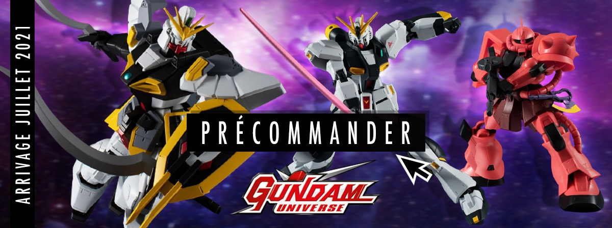 Nouvelle vague de robots dans la gamme petit prix et articulée Gundam Universe : Char's Zaku II, Sandrock de Gundam Wings et le RX-93 ν.