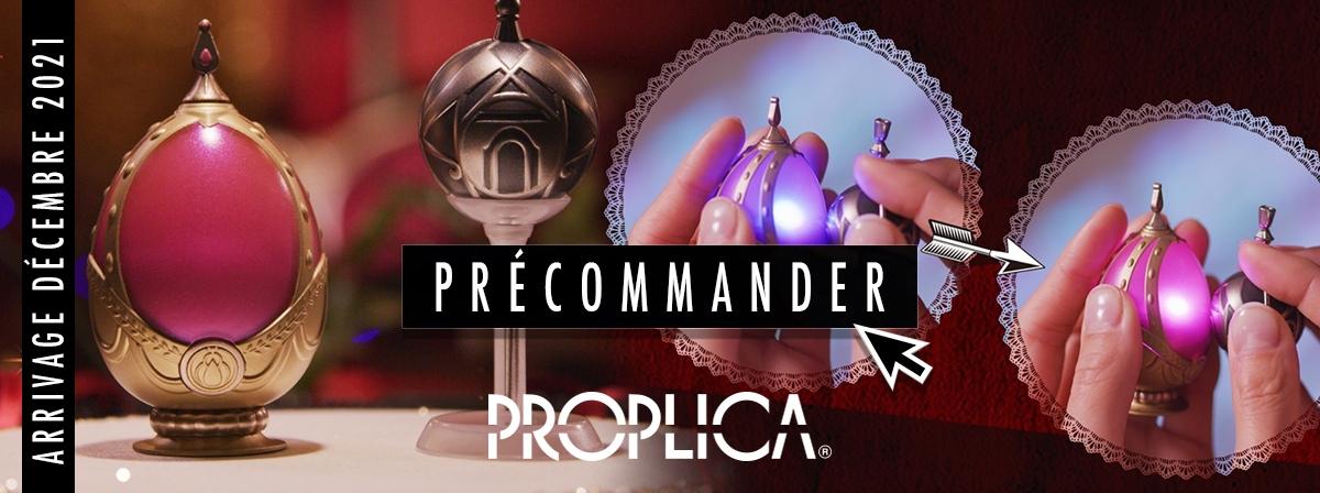 """Nouveauté Proplica tirées de l'animé """"Puella Magi Madoka Magica. Soul Gem est équipé de LED et inclus des effets sonores : musiques, dialogues et effets de l'animé. En l'approchant de Grief Seed les couleurs changent en mode """"purification""""."""